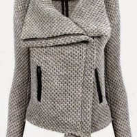 Gray Turn-Down Collar Zippered Mesh Knitted Coat