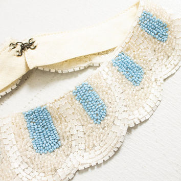 Vintage 1950s Collar - Beaded Blue  Ivory Peter Pan Necklace 50s