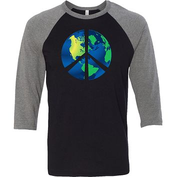 Buy Cool Shirts Peace Sign T-shirt Blue Earth Raglan