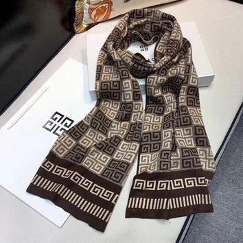 Givenchy fashion retro men plaid logo color shawl scarf