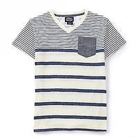 First Wave 8-20 Chambray Stripe V-Neck Tee - White
