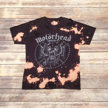 Motorhead, MEDIUM, concert tee shirt that has been bleached and distressed for a vintage/grunge look.