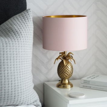 Brass Pineapple Table Lamp With Blush Lampshade