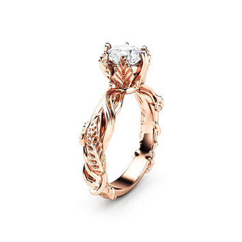 Art Nouveau Moissanite Engagement Ring 14K Rose Gold Wedding Ring Diamond Alternaive Engagement Band