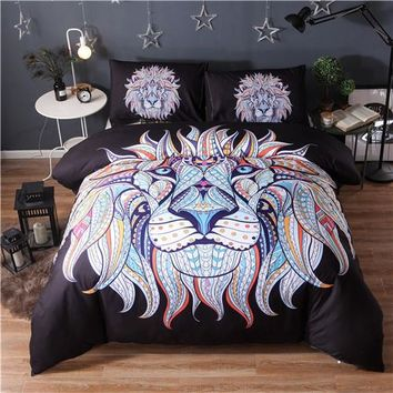 Black Colored Lion Animal Bedding Kids Boys Duvet Cover & Pillowcases Twin Queen King Double Size Bedclothes