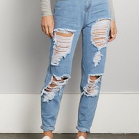 Destroyed Light Blue High Rise Mom Jean in Regular | Mom Jeans | rue21