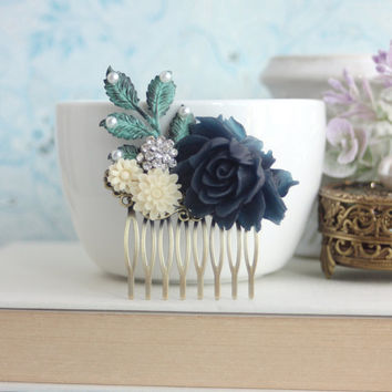 Dark Navy Blue, Leaf, Pearls, Rhinestones, Ivory Flower Hair Comb. Bridesmaid Gifts. Navy Rustic Wedding, Bridal Hair Piece. Something Blue