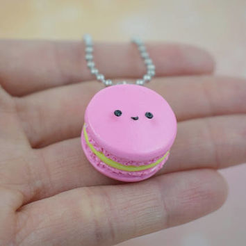 Kawaii Pink Macaron Charm Necklace | Polymer Clay | Miniature Sweet Dessert Food | Cute Handmade Gift |