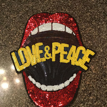 Large Red or White Love & Peace Sequin Lips Mouth Teeth Embroidered Applique Iron On Fashion Patch DIY Jacket