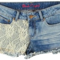 Amazon.com: Black Crystal Crochet Denim Shorts: Clothing