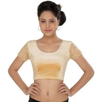 Saris and Things Gold Strech Lycra Stretchable Saree Blouse Crop Top A-24-gold