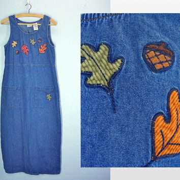 Fall Autumn Denim Jumper / Denim Dress / Embroidered Jumper / Small