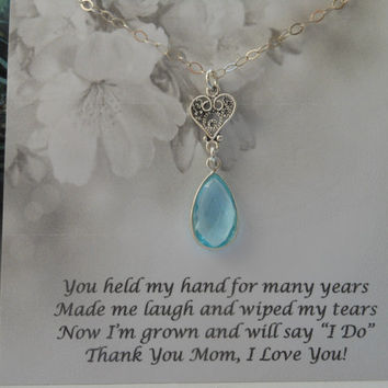 Mother of the Bride Gift, Aquamarine Teardrop Necklace,Mother of Groom Gift, Sterling Silver Heart Necklace,Wedding Jewelry, Gifts for Mom