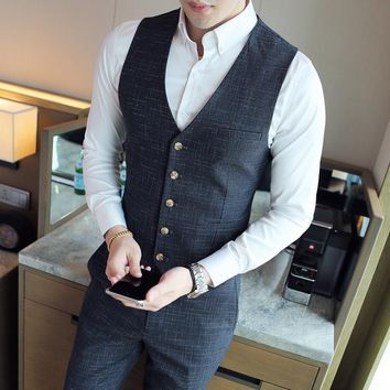 XMY3DWX Men's brand Sleeveless Jacket Waistcoat Men Suit Vest Fashion Male British Style Slim Woolen Cotton Single breasted vest