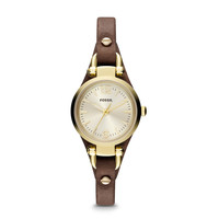 ES3264 - Georgia Mini Three Hand Leather Watch - Brown