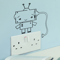 Robot Power Socket Vinyl Wall Sticker