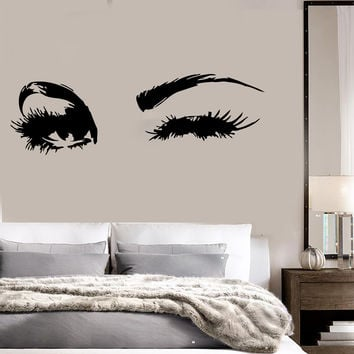 Beautiful Eyes Big Eye Lashes Wink Decor Wall Art Mural Vinyl Decal Sticker (M462)