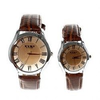 EYKI 8450 Japan Movt Water Resistant Wrist Watch for Couple Brown Chasis
