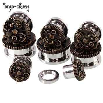 2PCS Steel Ear Plugs Steampunk Gauges