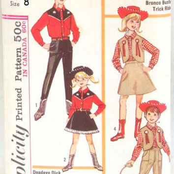 Simplicity 60s Sewing Pattern 6200 Retro Boy Girl Western Cowboy Cowgirl Costume Halloween Country Shirt Vest Skirt Size 8