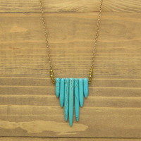 Pendant Necklace // Eco-Friendly, Handmade Statement Necklace // Turquoise Gold / Womens Jewelry //  Long Turquoise Pendant Necklace // Gift