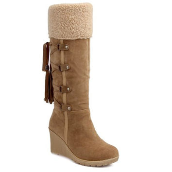 Cross Straps Design Mid-Calf Boots With Tassel