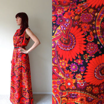 60's 70's Psychedelic Paisley Sleeveless Key Hole Maxi Dress