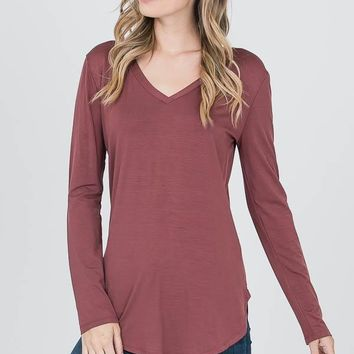 Perfect V Neck - Red Bean