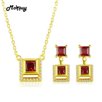 MoBuy Unique 925 Sterling Silver Jewelry Sets For Women Square Gemstone Garnet S925 Yellow Gold Plated Jewelry For Women V030EN