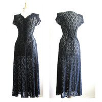 Vintage Sheer Black Lace Buttoned Dress Size