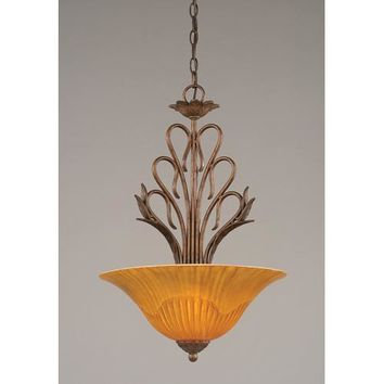 Toltec Lighting 204-BRZ-58619 Swan Bronze Three-Light Bowl Pendant with Tiger Glass Shade