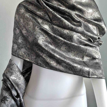 "100% Thai Silk Scarf Handwoven  Silver Elephant Vintage Fashion Design  20x70""   Beach Winter Scarf  Soft and smooth"