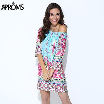 Aproms Boho Elegant Women Summer Dress High Street 2018 Off Shoulder Tunic Dresses Sundress European Sexy Vestidos Mujer