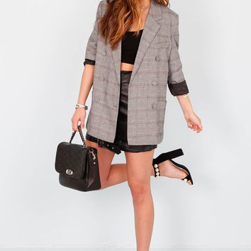 Project Social Blazer Dress - Gray Plaid