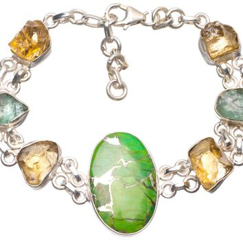 """Natural Copper Turquoise and Crystal Handmade Mexican 925 Sterling Silver Bracelet 6 3/4-8"""" U2296"""