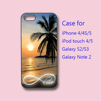 Infinity Love Beautiful Sunset Beach - iPhone 4 case, iPhone 5 case, ipod touch 4 / 5 case , samsung galaxy s3 case , galaxy note 2 case