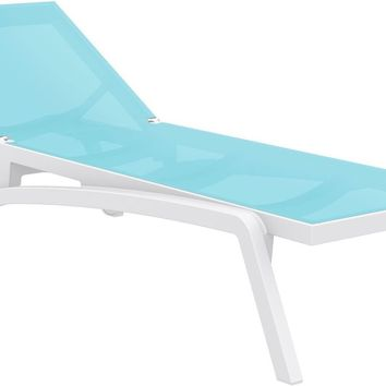 Pacific Sling Chaise Lounge White Frame Turquoise Sling (Set of 2)