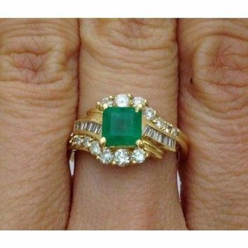 Luxinelle Princess Cut Green Emerald Ring with Round and Baguette Diamonds 14K by Luxinelle® Jewelry