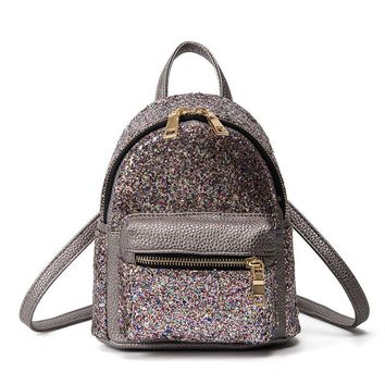 Women Glitter Backpack Small Leather Shoulder Bag Teenage Girls Black Backpacks Fashion Shinny  Rucksack Casual Day Pack XA76H