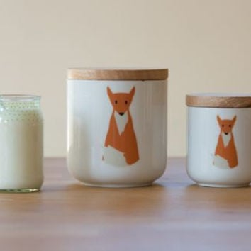 fox animal wooden lid ceramic canister jar