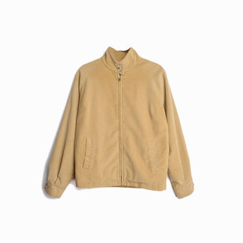 Vintage 80s Corduroy Zip Jacket in Camel Tan - women's medium
