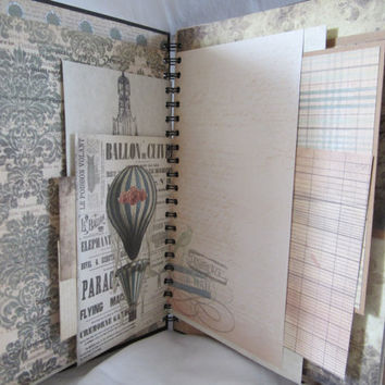 Smash Book Junk Journal Mixed Media Art Journal Vintage Scrapbook Diary Writing Journal Photo Album by Island Lilly Designs