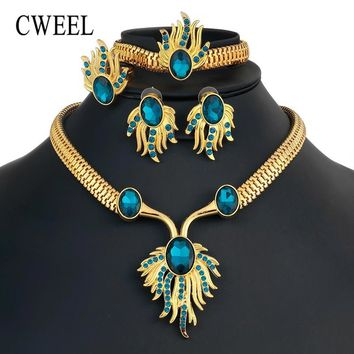 CWEEL Jewelry Sets Indian Dubai African Beads Jewelry Set For Women Wedding Bridal Jewelry Sets Imitation Crystal Jewellery Set