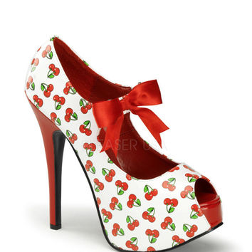Pinup Couture White Cherry Open Toe Platforms