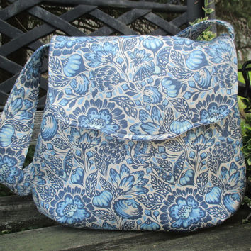 Blue And White Shoulder Bag ,Tula Pink Shoulder Bag , Boho Shoulder Bag, Bats In The Belfry