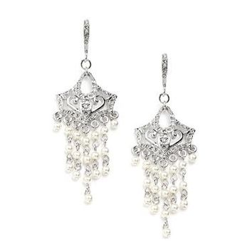 Vintage Pearl Chandelier Wedding Earrings with Cubic Zirconia Encrusted French Wires 4067E