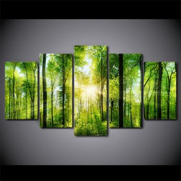 Canvas Art Spring Verdurous Forest Painting Green Trees Wall Picture Framed UNfr