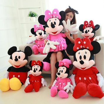 2pcs/lot 28cm Soft Mickey Mouse And Minnie Mouse Stuffed Animals Plush Toys Low Price&High Quality  For Children's Gift