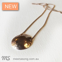 ROSE GOLD HAMMERED DISC NECKLACE by Meena Song Jewellery