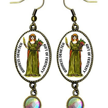 "Goddess Demeter Gift of Fertility Antique Bronze Gold Rhinestone 2 1/2"" Earrings"